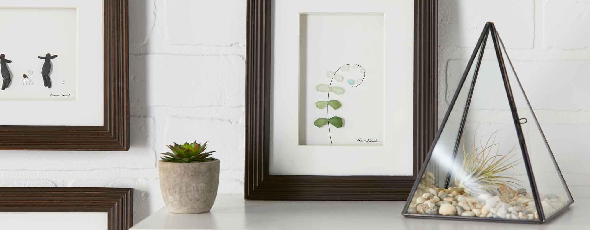 Botanical leaf wall frame and leaded glass terrarium