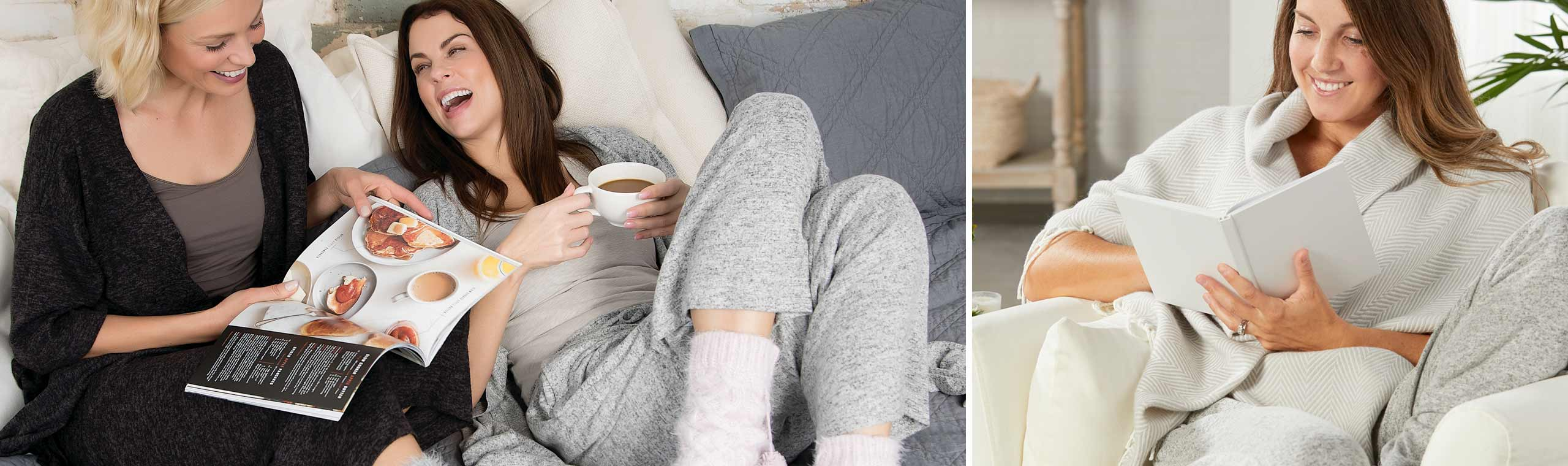 Women wearing soft gray wraps and lounge pants reading books