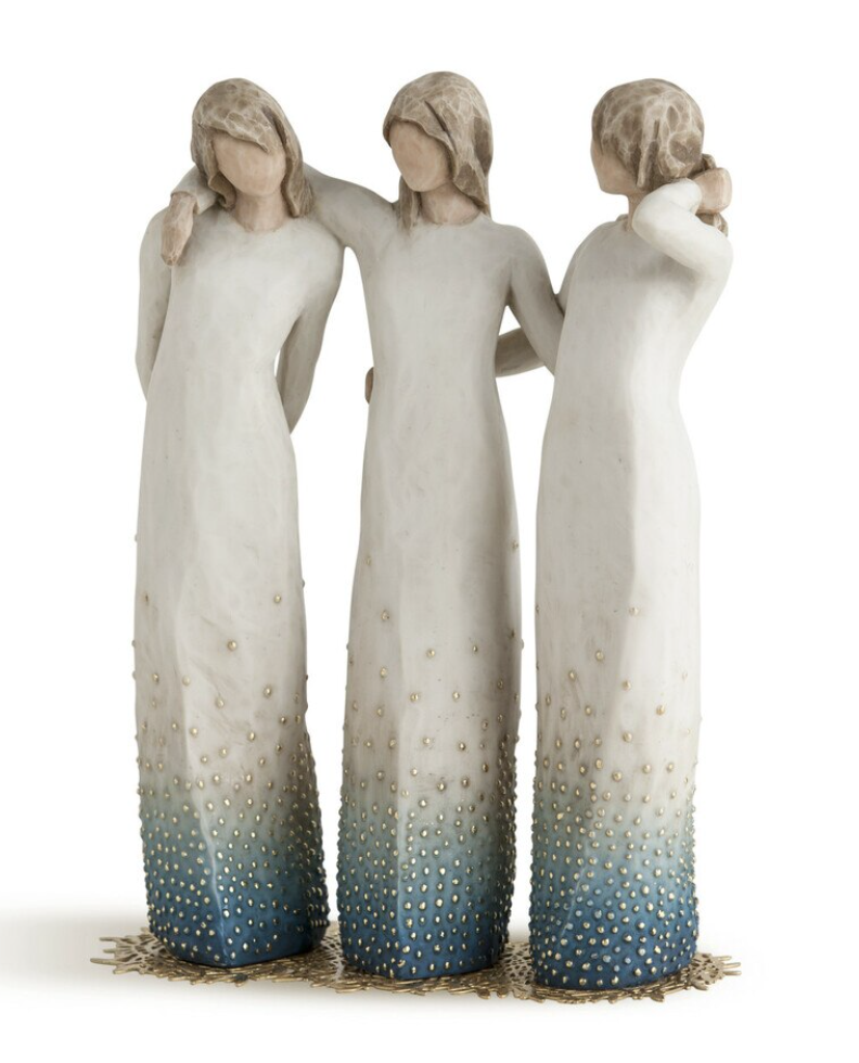 Three women standing with their arms around each other. Willow Tree Figurine