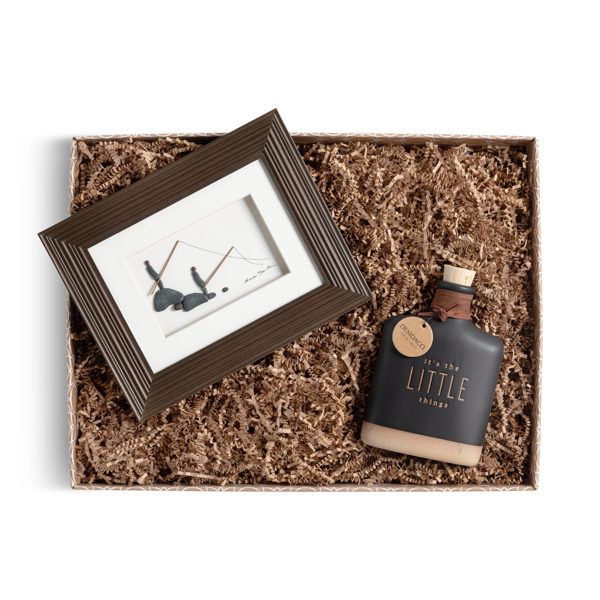 time well spent gift box that includes flask and framed pebble art of father and son fishing