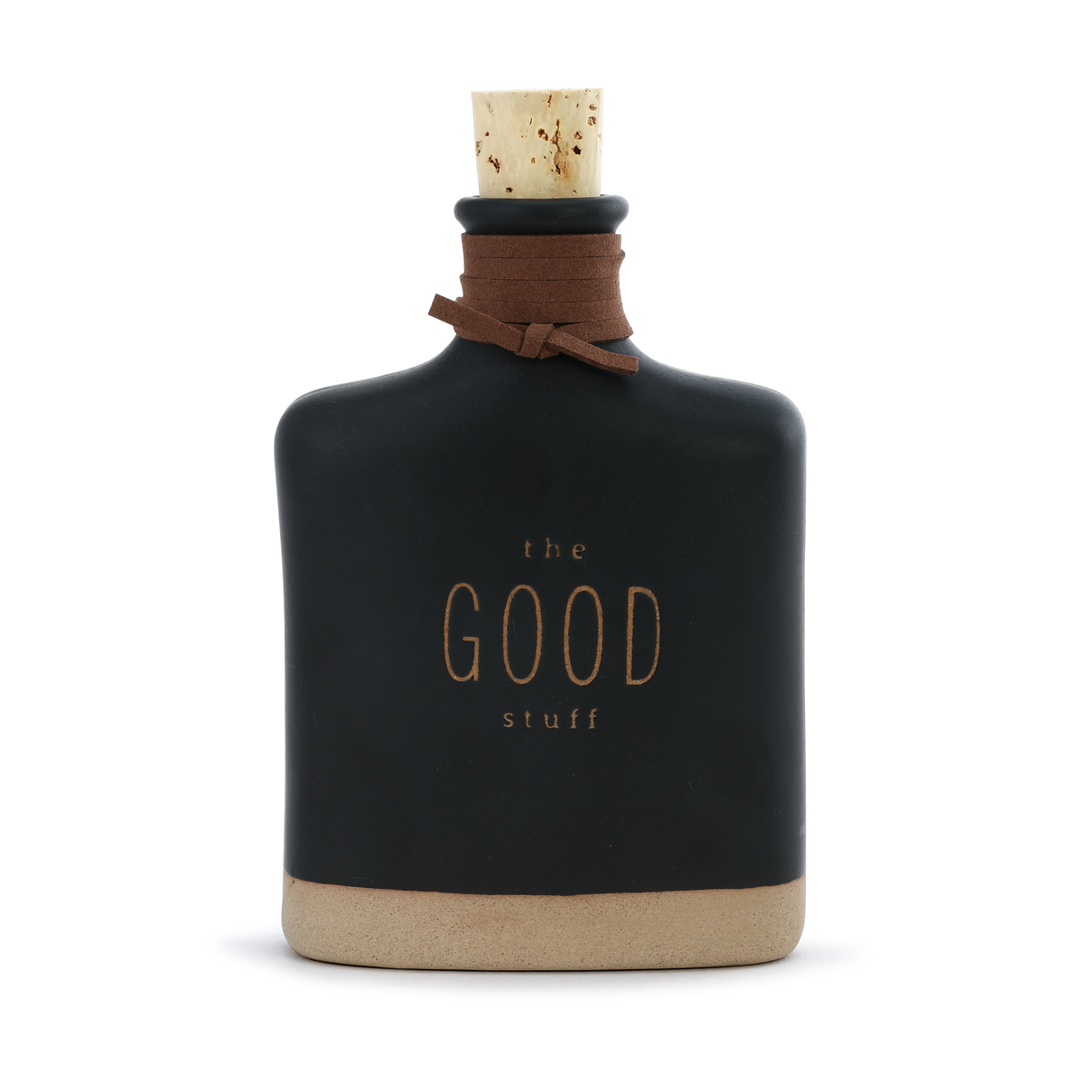 ceramic black flask that says the good stuff