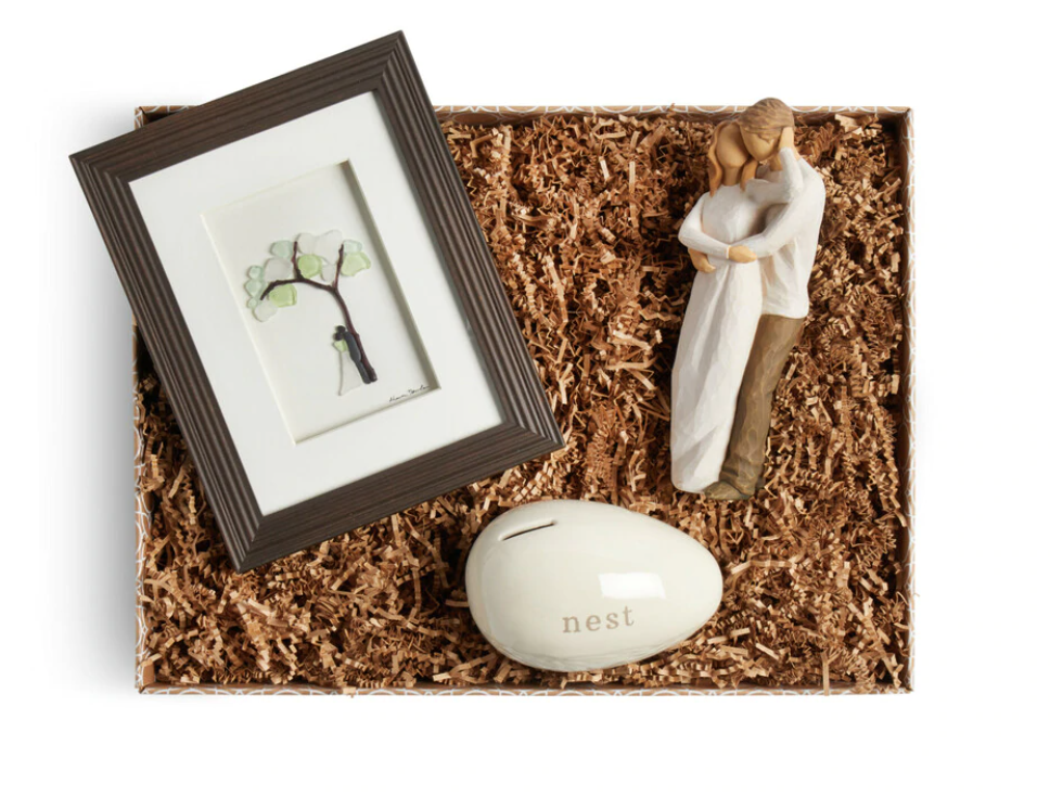 Our Life Together Gift Box  Set includes Willow Tree Figurine, Sharon Nolan Wall art and Next Egg Bank