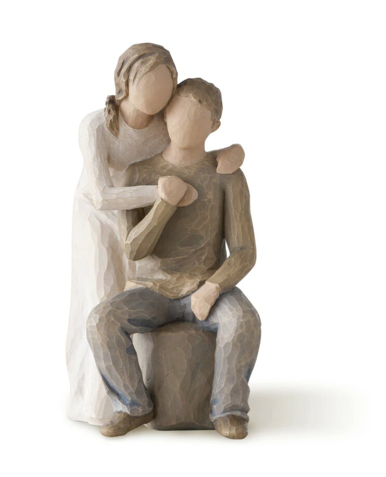 You and Me Willow Tree Figurine - male sitting and female with her arms wrapped around him