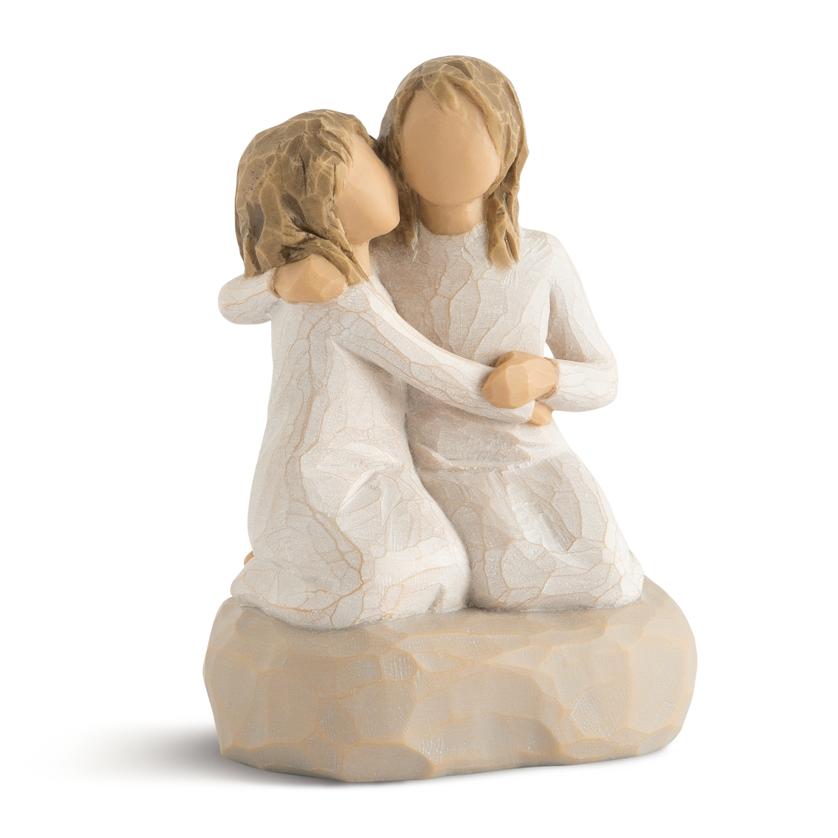 two sisters kneeling and holding each other willow tree figurine